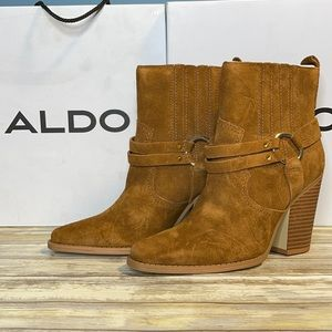 NEW Aldo Cognac Brown Leather Ankle Boots